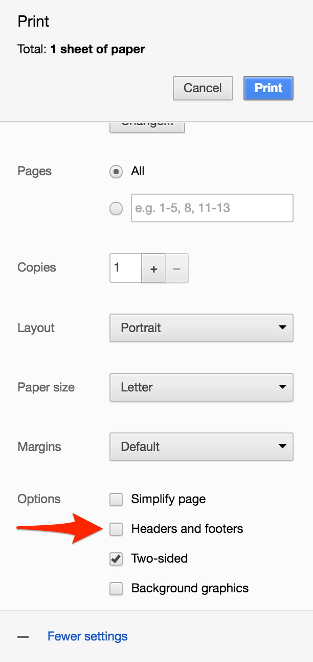 How To Turn Off Headers And Footers When Printing From A Webpage Or